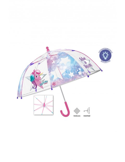 Transparentna parasolka z jednorożcem