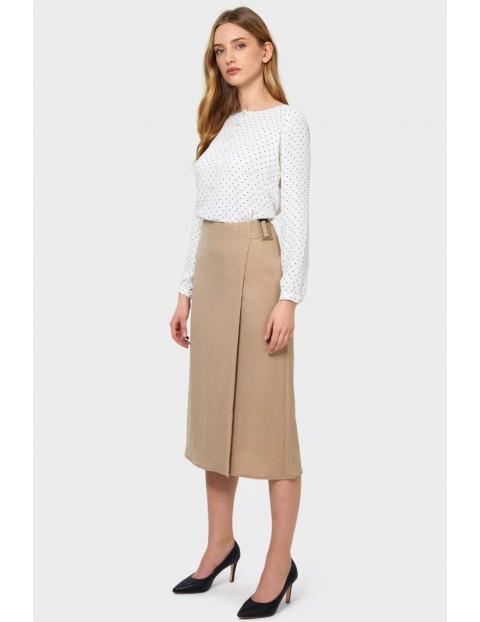 Elegancka bluzka z rozpinanym dekoltem długi rękaw- biała w kropki