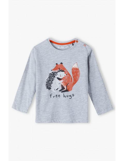 Bluzka niemowlęca na długi rękaw z liskiem i jeżykiem -szara