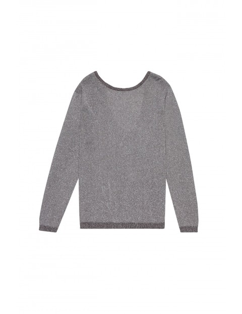 Sweter z odkrytymi plecami  z metaliczną nitka - szary