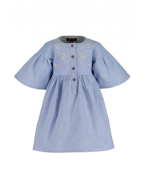 Sukienka niemowlęca błękitna z haftowanymi kwiatkami