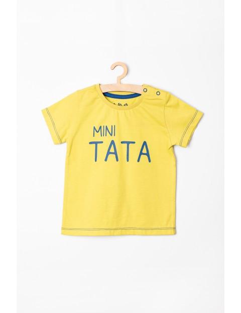 """T-shirt niemowlęcy żółty """"Mini Tata"""""""