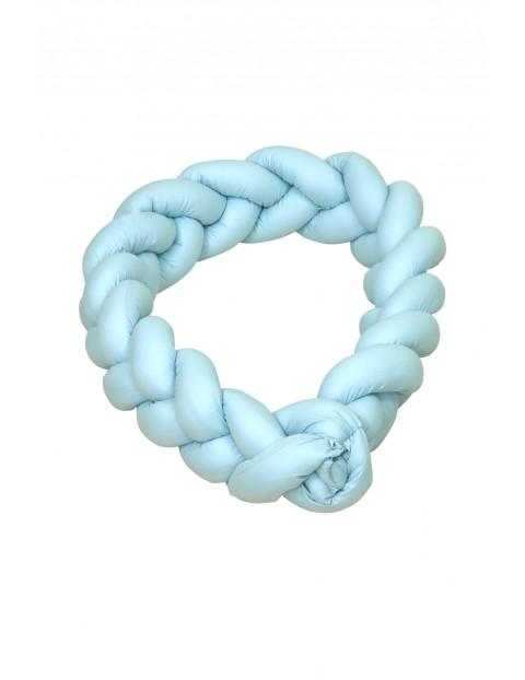 Warkocz - ochraniacz bawełniany do łóżeczka Amy- niebieski 210cm