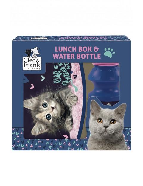 Zestaw Śniadaniówka i bidon Cleo i Frank z kotem