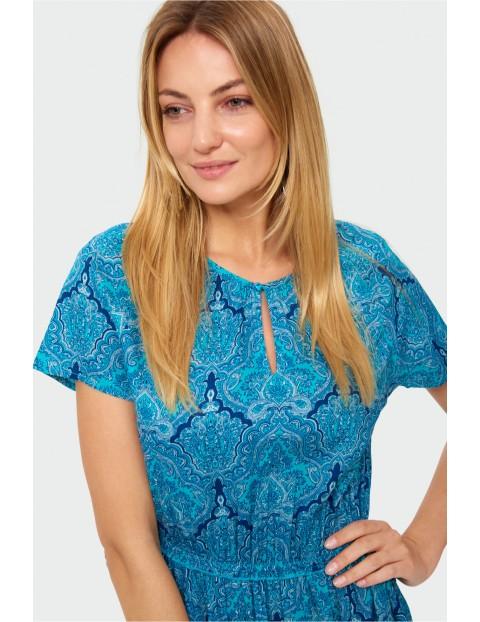 Wiskozowa długa sukienka z nadrukiem - niebieska