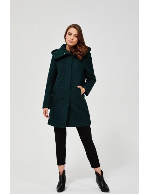 Płaszcz damski z kapturem butelkowa zieleń