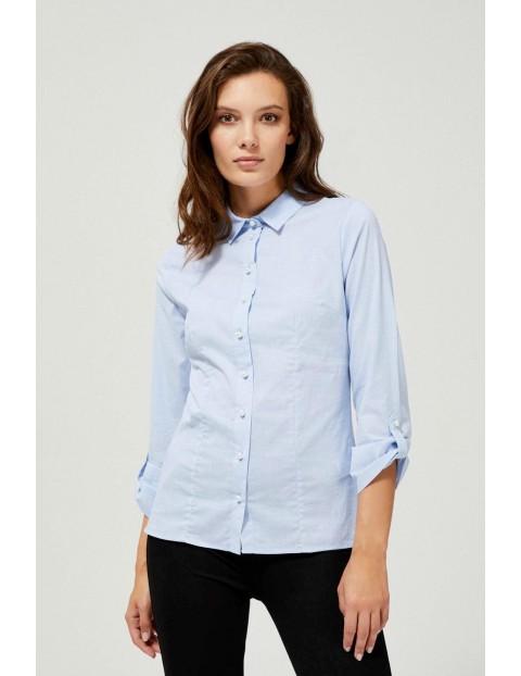 Klasyczna koszula damska błękitna z ozdobnymi guzikami