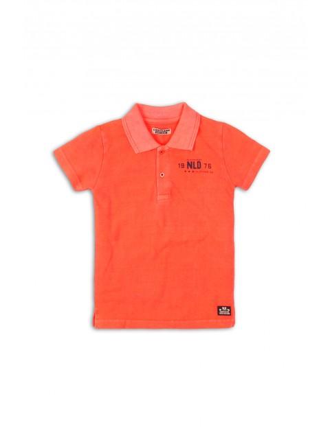 T-shirt chłopięcy pomarańczowy z kołnierzykiem