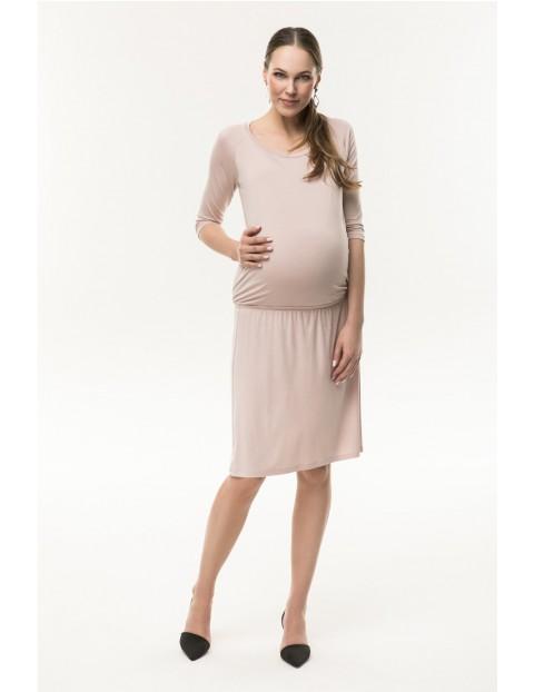 Sukienka ciążowa z dzianiny- pudrowy róż