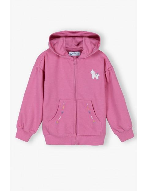 Różowa bluza dziewczęca z kapturem