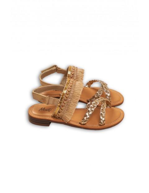 Sandały dla dziewczynki brązowe z cekinami