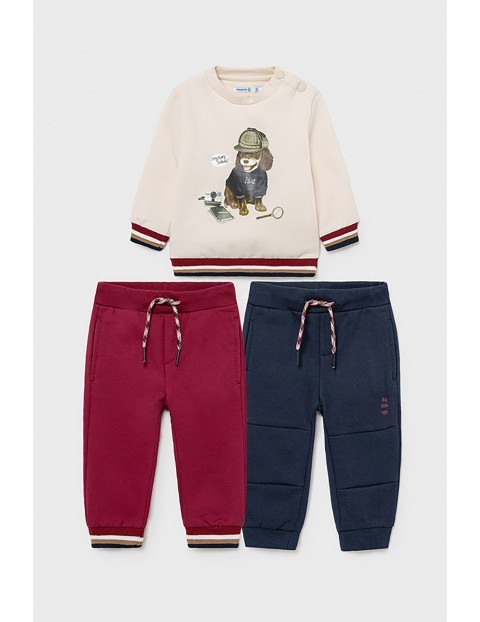 Komplet dresowy 3 częściowy Mayoral - bluza i pary spodni dresowych