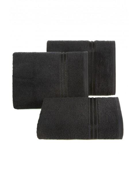 Ręcznik z bordiurą w pasy czarny 50x90 cm