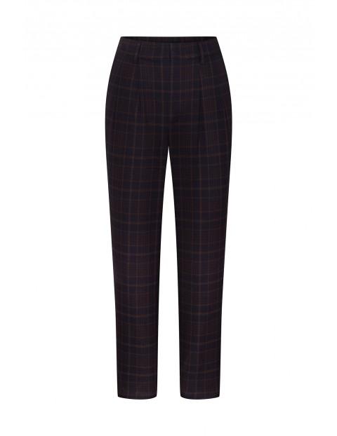 Spodnie damskie cygaretki w kratkę - czarne