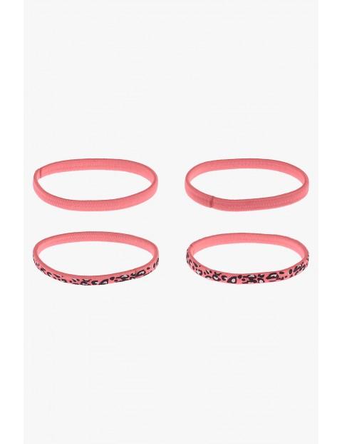 Gumki do włosów różowe w panterkę 4szt
