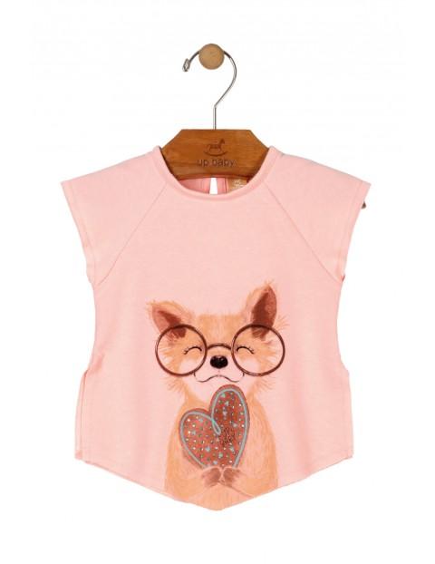 T-shirt dziewczęcy różowy z pieskiem