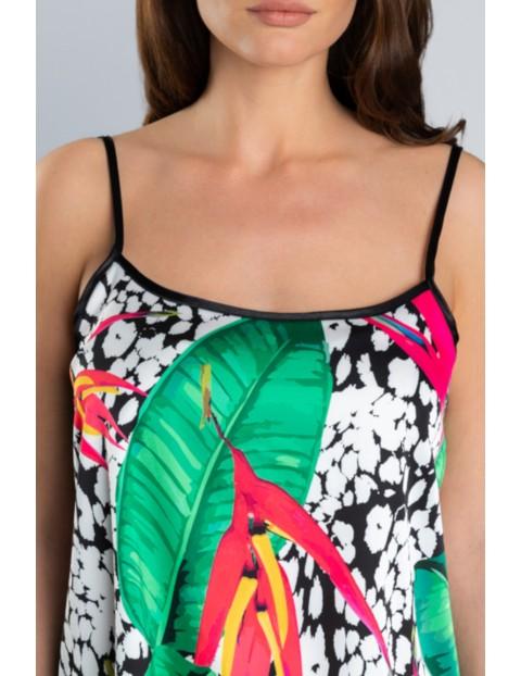 Dwuczęściowa piżama damska w kolorowe kwiaty