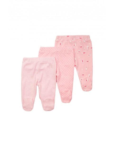 Półśpiochy niemowlęce 3 pak - różowe