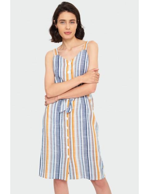 Wiskozowa sukienka w paski na ramiączkach- kolekcja letnia