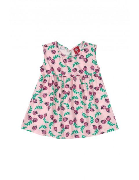 Sukienka dziecięca w biedronki - różowa