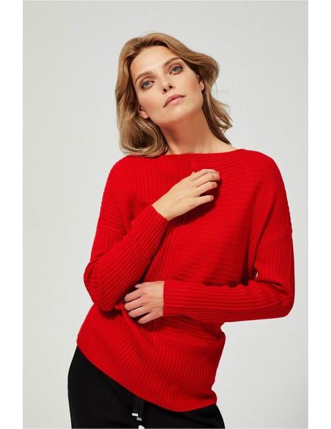 Sweter damski w prążki - czerwony