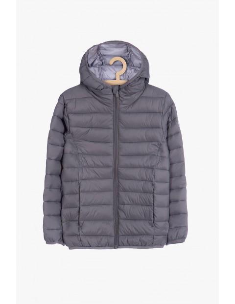 Szara pikowana kurtka dla chłopca