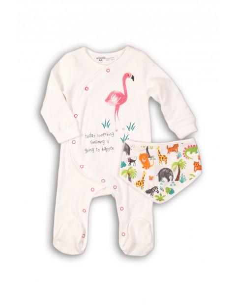 Komplet niemowlęcy bawełniany pajac i chustka