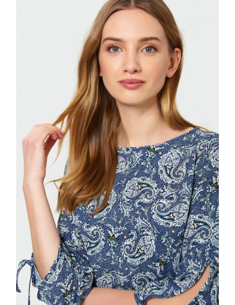 Bluzka damska wiskozowa z dekoracyjnym wiązaniem