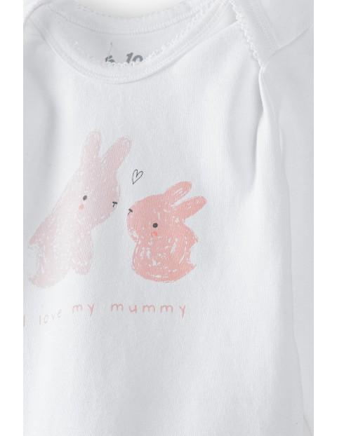 Białe bawełniane body z długim rękawem z króliczkiem z przodu