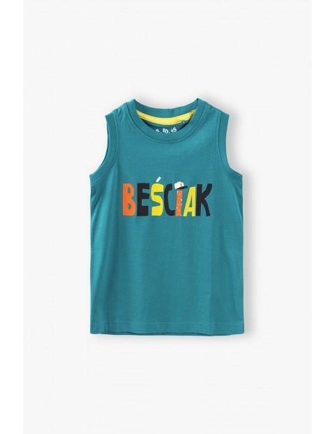 T-shirt chłopięcy w kolorze zielonym z napisem- Beściak
