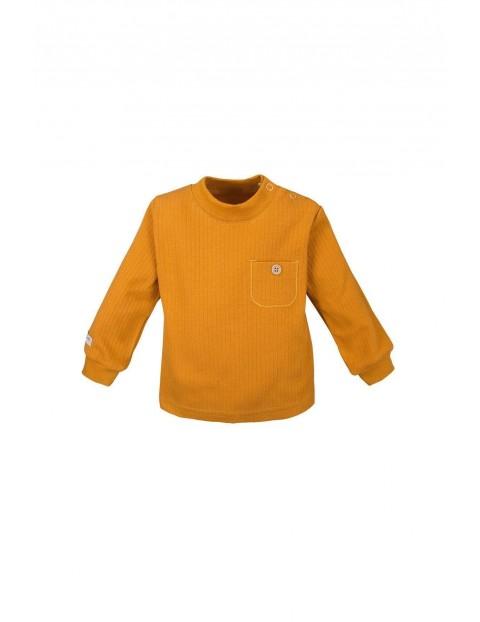 Bawełniana bluzka z kieszonką - miodowa