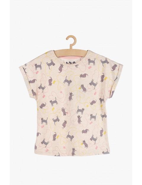 T-shirt dziewczęcy- różowy w kotki