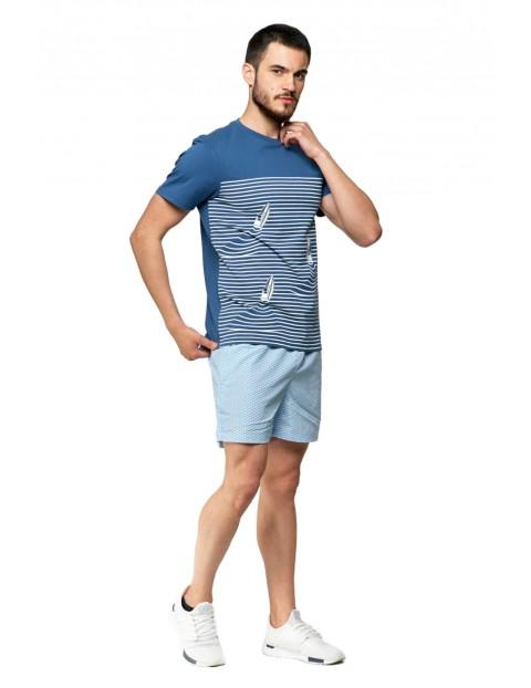 T-shirt bawełniany męski w paski- niebieski