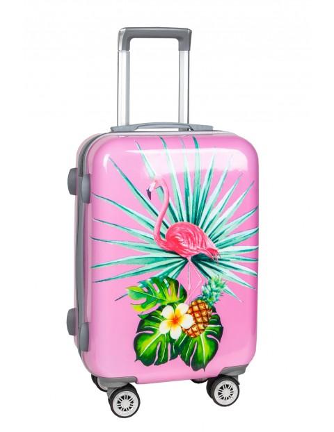 Mała walizka PASO różowa z flamingiem 48×33×23cm
