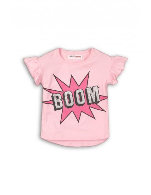 Różowy t-shirt z napisem BOOM