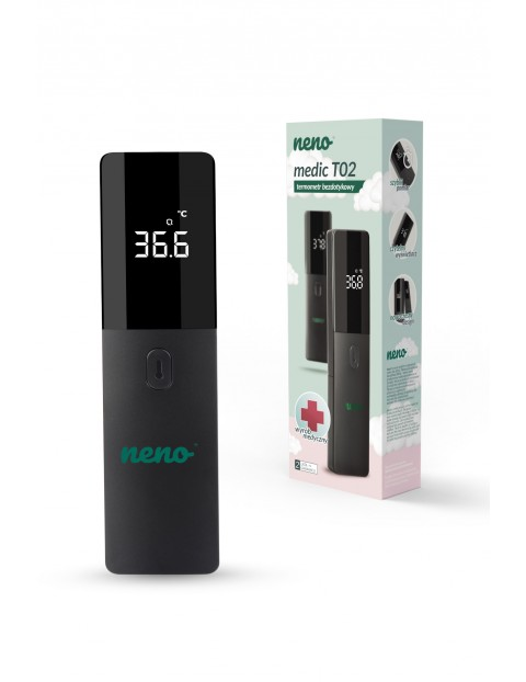 Neno Medic T02  poręczny i nowoczesny termometr medyczny w kolorze czarno - zielonym