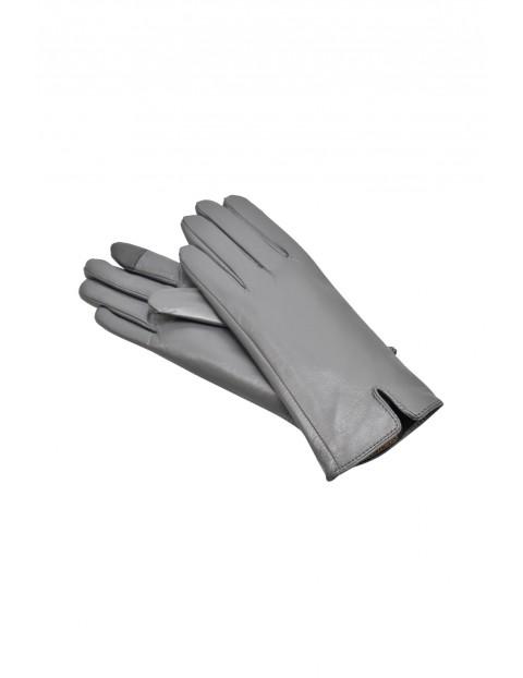 Rękawiczki damskie skórzane antybakteryjne - szare