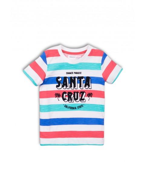 T-shirt w paski z napisem Santa Cruz