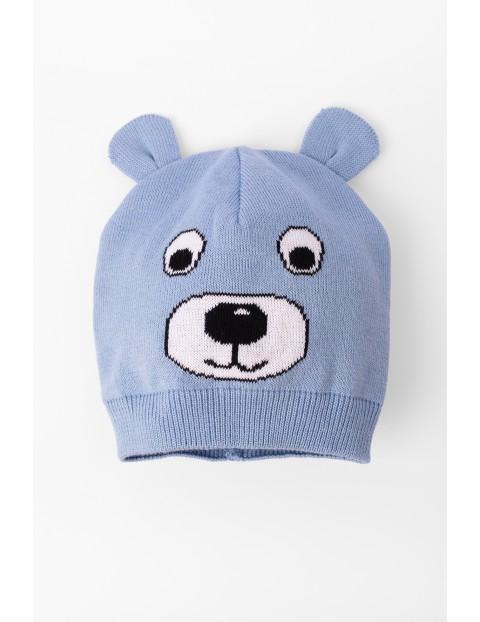 Dzianinowa czapka dla niemowlaka niebieska z buzią misia