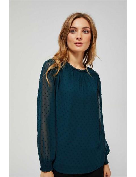 Koszula damska zielona z transparentnymi rękawami