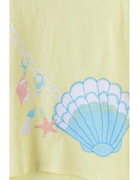 Bluzka z krótkim rękawem- żółta z imitacją torebki
