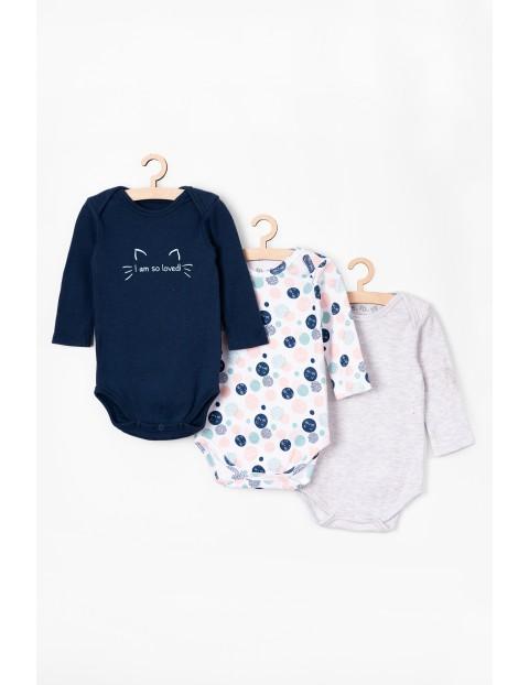 Body niemowlęce z kotkami 3 pak