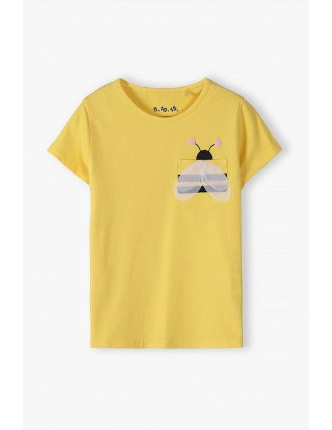 T-shirt dziewczęcy z kieszonką w kształcie pszczółki - żółta