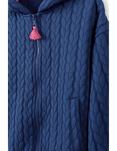 Granatowa bluza dziewczęca z ozdobnym pikowaniem