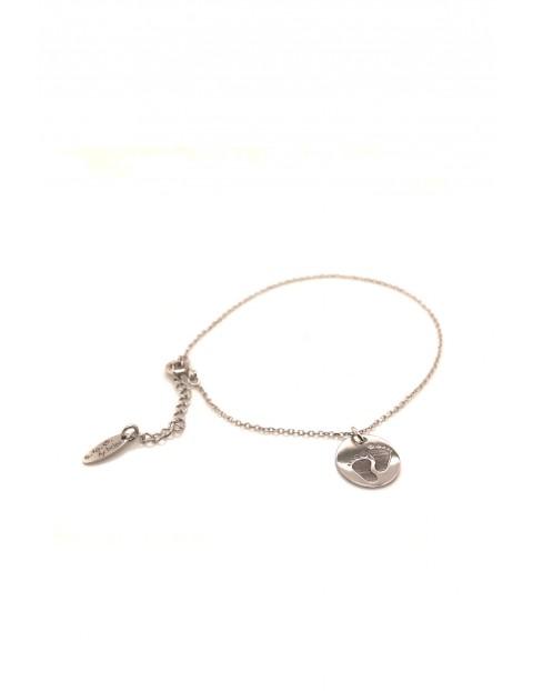 Narodziny- Bransoleta srebrna rodowana - Stópki
