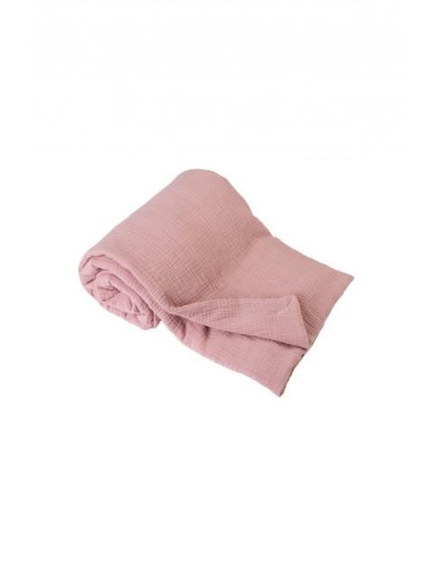 Kocyk muślinowy - różowy roz.75x100cm