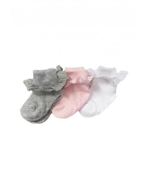 Skarpetki dla niemowlaka z falbanką i ABSem