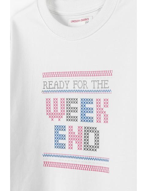 Bawełniana beżowa bluza z napisem Ready For The Wekend