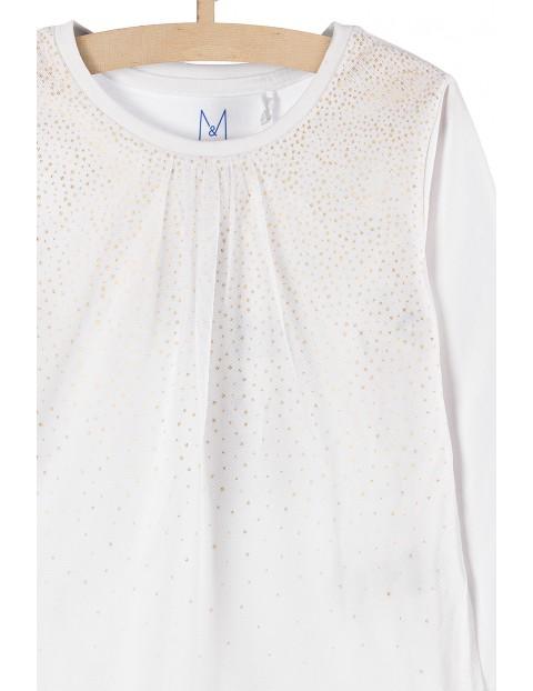 Elegancka bluzka dla dziewczynki- biała z tiulowymi zdobieniami