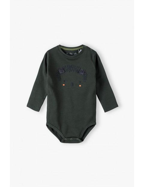 Bawełniane body niemowlęce z jeżykiem na długi rękaw - ciemnozielone